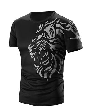 Round Neck Printed Short Sleeve Men's T-Shirt
