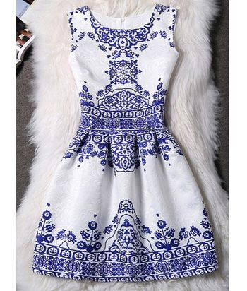 Elegant Round Neck Sleeveless Printed Jacquard Dress For Women
