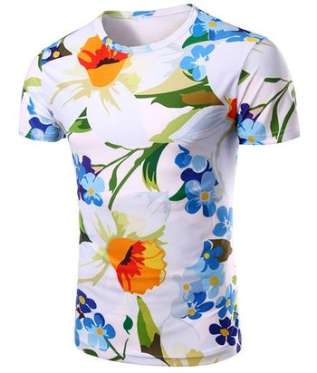 Round Neck Floral 3D Print Pattern Short Sleeve Men's T-Shirt