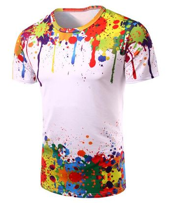Round Neck 3D Colorful Splash-Ink Print Short Sleeve Men's T-Shirt