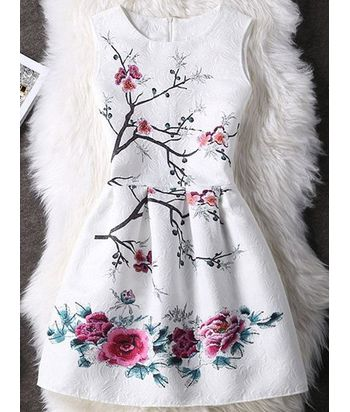 Floral Pattern Concealed Zipper High-Waist Dress