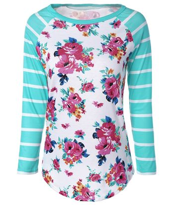 Fresh Stripe Floral Print Long Raglan Sleeve T-Shirt
